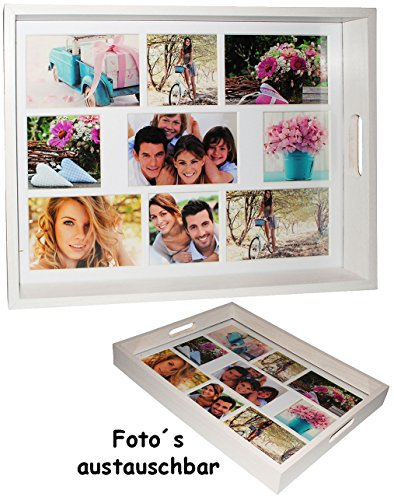 alles-meine.de GmbH großes Tablett -  für - 9 große Fotos & Bilder  - rechteckig - Vintage - Foto Serviertablett aus Holz - weiß / auch zur Deko geeignet - Retro Design - Bilde..