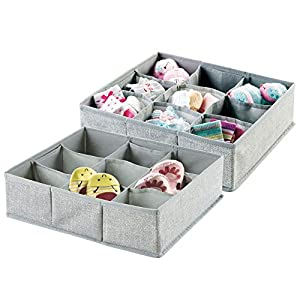 mDesign Fabric 9 Section Drawer/Closet Storage Organizer for Kids, 2 Pack