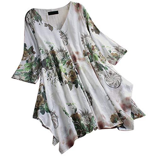JURTEE Camiseta De Algodón Y Lino para Mujer Talla Grande Casual Cuello En V Impresión Top Dobladillo Irregular Blusa