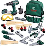 FunLittleToy 35 Pieces Kids Tool Set, Including Electronic Cordless Drill, Pretend Play Construction Tool Accessories and a Sturdy Tool Bag