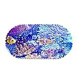 KaiXINSun Alfombrilla De Baño PVC Durable Resistente Al Moho Alfombrilla De Ducha para Bañera - Antideslizante Antibacteriano Ventosas Alfombrilla De Ducha Patrón De Pez Coral Azul