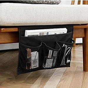 WADY - Organizador de mesita de noche, 4 bolsillos para sofá, para colgar en el teléfono, gafas y televisión, color negro