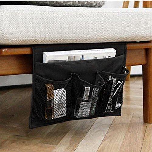 WADY Organizador de mesita de noche con 4 bolsillos para colgar en el sofá o en la cama, bolsa de almacenamiento para libro, teléfono, gafas, TV remoto (negro)