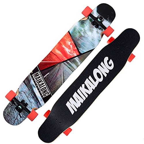 VOMI Patineta Pro con Rodamientos de Bolas Alta Velicidad ABEC 9, Monopatin Completo Longboard de 9 Capas de Arce de 47 Pulgadas Skateboard Freeride para Adultos, Niños y Niñas, Principiantes,B