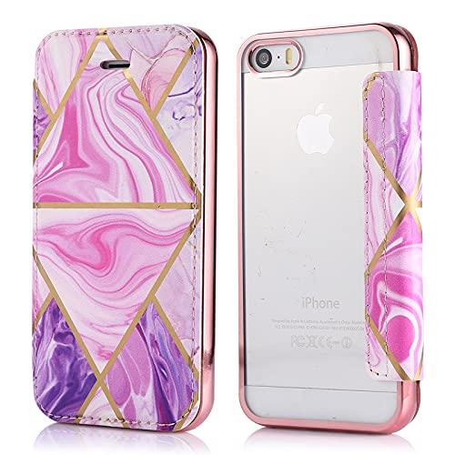 YEARN MALL Funda de piel para iPhone SE/5s/5, antiarañazos [parte trasera transparente]...