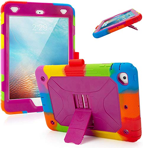 "iPad Mini Case iPad Mini 4 Case iPad Mini 5 2019 7.9"" Case Heavy Duty Full-Body Rugged Protective iPad Case with Kickstand Pencil Holder (Rainbow/Purple)"