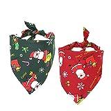 CDJX Dog Bandana,2 Pieces Christmas Pet Costume Stylish Christmas Santa Scarf,25.2 Inches Triangle Washable Reversible Dog Cat Scarf Bow Ties for Decorations