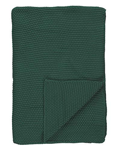 Marc O'Polo Nordic Knit Plaid, 100% Baumwolle, Grün, 130 x 170 cm