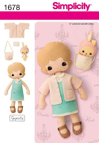 Simplicity 1678 13-Inch Felt Doll, Clothes and Accessories Sewing Pattern, Size...