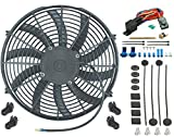 American Volt 14' Inch Electric Cooling Fan 12 Volt Push-in Radiator Fin Probe Thermostat Kit