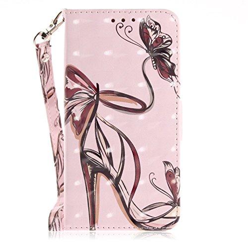 vingarshern Hülle für LG G Flex 2 Schutzhülle Etui Tasche Klappbares Magnetverschluss Flip Hülle Lederhülle Handytasche LG G Flex2 Hülle Leder Brieftasche(High Heel) MEHRWEG