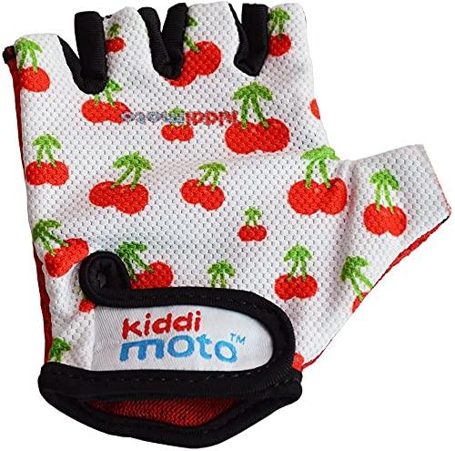 KIDDIMOTO Kinder Fahrradhandschuhe Fingerlose für Jungen und Mädchen/Fahrrad Handschuhe/Bike Kinder Handschuhe - süße Kirschen - M (4-8y)