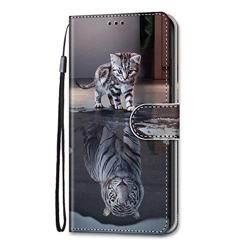 Amlope Custodia per Samsung Galaxy J5 2017, Flip Cover Portafoglio Silicone Protettiva Caso con Cinghia e Porta Carte Chiusura Magnetica Protezione Case, Gatto&Tigre