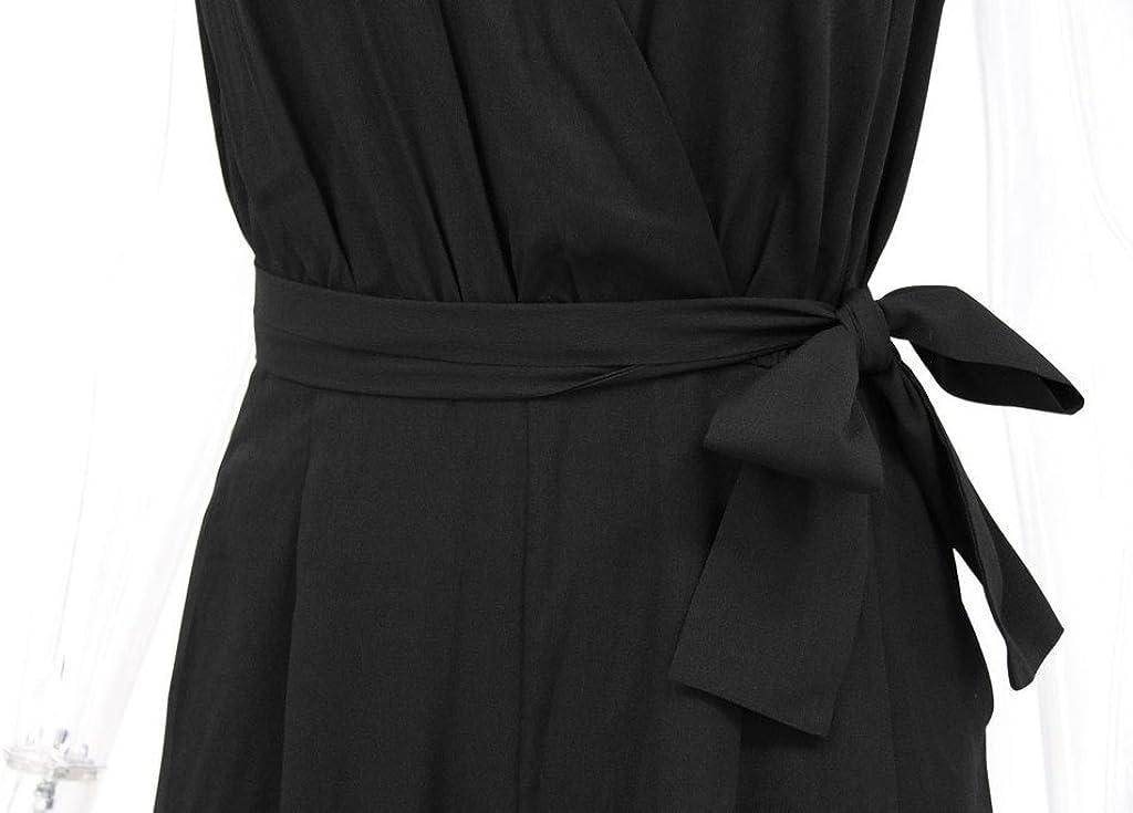 Donna Tute Eleganti Estive V Collo Jumpsuit Lunghi Senza Maniche Pans Long Tuta Sciolto con Cintura Colore Solido Tutine Intere Partito da Cerimonia Moda Pantaloncini Playsuits