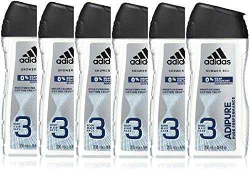 adidas adipure Duschgel für Herren - natürliche Inhaltsstoffe zur täglichen Reinigung von Haut, Gesicht und Haaren, 6er Pack (6 x 250 ml)
