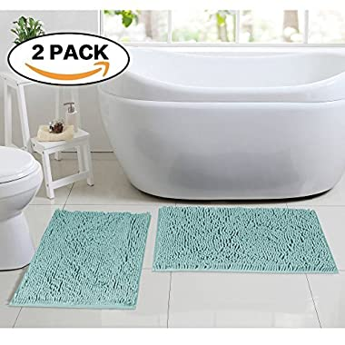 Flamingo P Super Soft Microfiber Bathroom Rugs Non Slip Shag Bath Mat for Kitchen Bedroom, 17 x 24 , Duck Shell, Two Pack