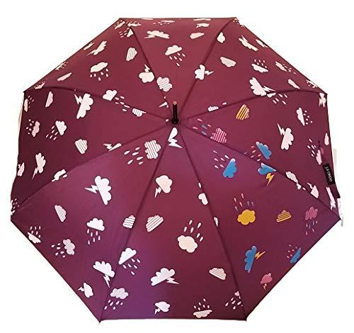 G4G Paraguas Que Cambia de Color con la Lluvia, de Apertura automática, con Las Medidas de 60cm (Púrpura)