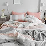 FenDie Striped Bedding Set Modern Peach White Gray...