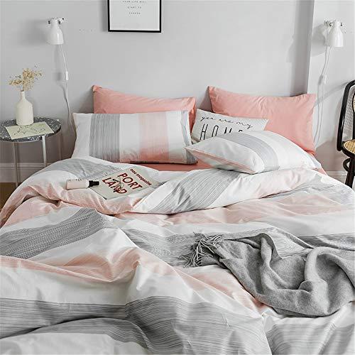 FenDie Striped Bedding Set Modern Peach White Gray Color Duvet Cover 2 Pillow Cases Set Premium Cotton Queen Girls Duvet Cover Simple Home Chic Style Bed Set (No Filling)