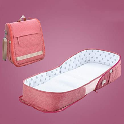YANGGUANGBAOBEI Travel Crib  For Bed Travel Bed Safer Comfortable Co-Sleeping For 0-24 MonthBaby Care Infant Toddler Cradle Multifunction Storage Bag Pink