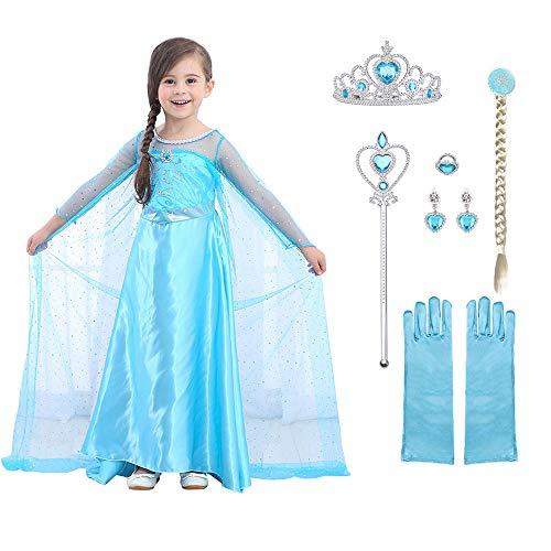 URAQT Mädchen Prinzessin ELSA Kleid Kostüm Set aus Diadem, Handschuhe, Zauberstab (Größe 120 für 4-5 Jahre, Kleid ELSA + 6pcs Zubehör) …