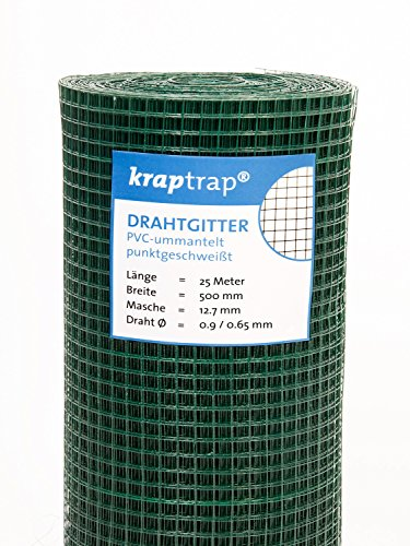KrapTrap® Volierendraht grün Drahtgitter I Käfigdraht Schweißgitter (50cm x 25m)