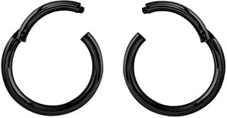 Two 16 Gauge Black Stainless Steel Hinged Daith-Nose-Rook-Lip-Septum Segment Ring