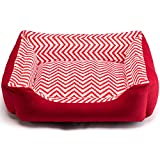 Hollypet Pet Bed for Small Medium Dog and Cat Plush Rectangle Nest Puppy Sleeping Bag Cushion, Red