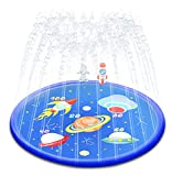 """68"""" Sprinkler Pad for Kids, HouLight Splash Pad Sprinkler for Toddlers, Kiddie Pool, Outdoor Games Water Mat Toys, Inflatable Water Toys, """"Space Trip"""" Wading Swimming Pool for Boys and Girls"""