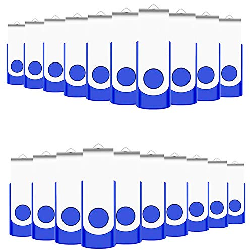 2GB Bulk USB Flash Drives 50 Pack, EASTBULL USB 2.0 Metal Flash Drives Pack Swivel Thumb Drives Pack Gig Stick (Blue)