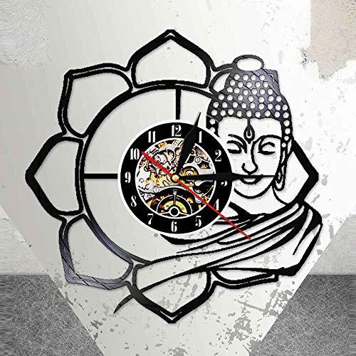 BFMBCHDJ Gautama Buddha Schwarz Hängende Schallplatte Wanduhr 30cm Chinesische Stil Figur Sakyamuni Coole Wohnzimmer Inneneinrichtung Mit LED 12 Zoll
