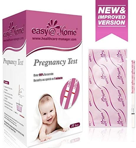 Easy@Home Pregnancy Test Strips Kit, Powered by Premom Ovulation Predictor iOS and Android APP, 20 HCG Tests