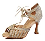 MINITOO Damen Latein Salsa Schnursenkel Kristalle Baby Gold Satin Tanzschuhe Wedding Sandalen EU 39