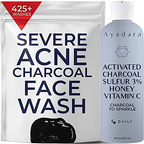 Ayadara Cystic, Hormonal, & Severe Acne Charcoal Face Wash   Exfoliating Acne Cleanser for Teens, Adults, Women, & Men   Sulfur Face Wash   Pimple, Zit, Milia & Cystic Acne Treatment   425+ Uses