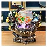 HAKLAKY Fuentes Decorativas 18.1 Pulgadas de Escritorio Relajación Cascada Cascada Fuente de Resina Hecha a Mano Fountain Feng Shui Wheel Tea Sala de té Decoración de Escritorio Fuente Interior