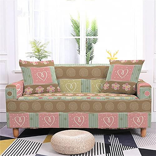 Meiju Celosía Fundas de Sofá Elasticas de 1 2 3 4 Plazas Universal Decorativas Funda Cubre Sofas Ajustables, Antideslizante Protector Cubierta de Muebles (Amor,3 plazas - 190-230cm)