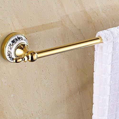 QTQHOME Armatur Antikes Porzellan Blau Gold Einstab Handtuchstange Edelstahl Handtuchhalter Bad Wand 40cm