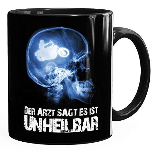 Kaffee-Tasse Xray Der Arzt sagt es ist unheilbar Hobby Schädel Röntgenbild Biker Motorrad Chopper Motorradfahrer Geschenk-Tasse Moonworks® Uni schwarz unisize