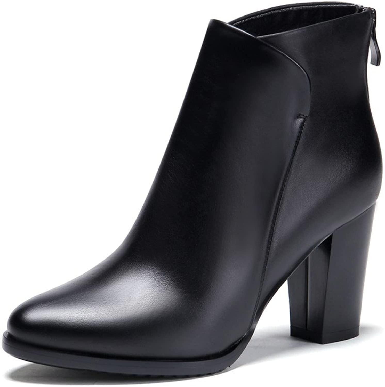 Nine Seven Genuine läder Woherrar hög klack Western Western Western Back Zipper Ankle Booslips springad Toe Chunky Heel Handgjort Boot  webbutik