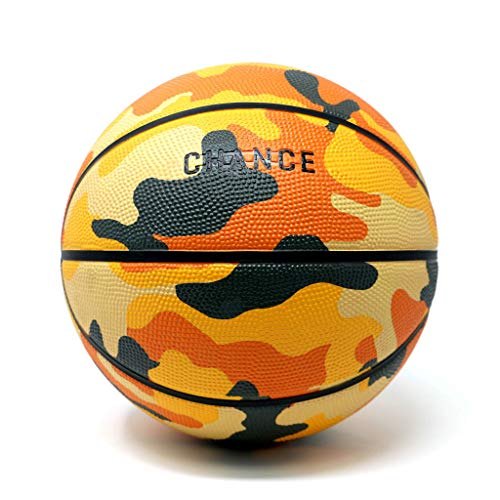 """Chance Premium Rubber Outdoor / Indoor Basketball (Size 5 Kids & Youth, 6 Women's Official, 7 Men's Official) (Size 27.5, 28.5, 29.5) (7 Men's Official - 29.5"""", Pascal - Orange Camo)"""