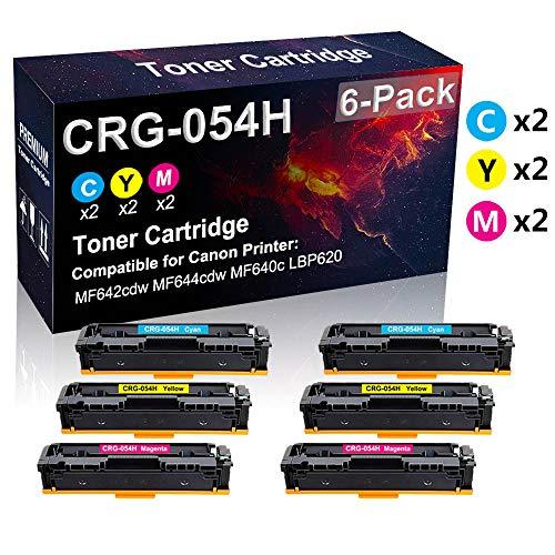 Confezione da 6 cartucce toner (2 C+2Y+2M) compatibili 054H CRG-054H per stampanti laser Canon Color imageCLASS MF644cdw MF640C LBP620 (alta resa)