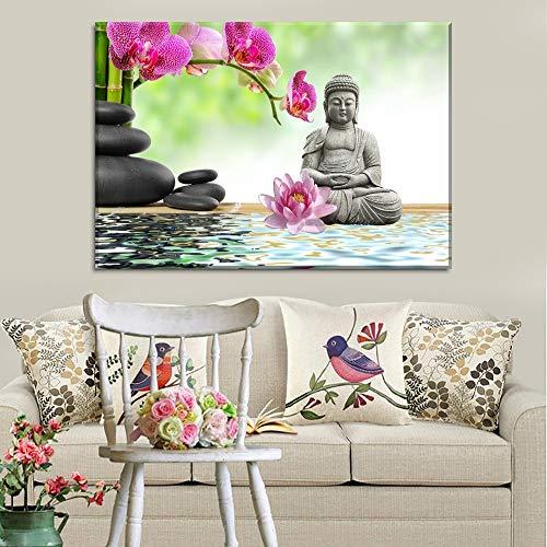 1000pcs_Wooden Adult Puzzle_Water Background Orchid Buddha Zen_Puzzle Puzzle Toy Wooden Puzzle Modern Home Decor_50x75cm