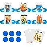 Sumind 77 Piezas Juegos de Adivinanzas Divertido Conjunto de Juego de Preguntas Rápidas Incluyes 6 Diademas, 50 Tarjetas con Imágenes, 20 Monedas de Puntuación