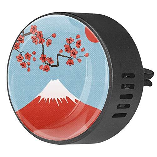 2 unids Sakura Fuji Montaña Japón Paisaje Accesorios Coche Ambientador Coche Aromaterapia Difusor de Ventilación Coche Clip Regalo Decoraciones 40mm