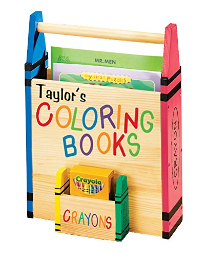 Personalized Coloring Book Caddy -Coloring Book Organizer with Crayon Storage Customized with Child Name – Book Carrier - Tote