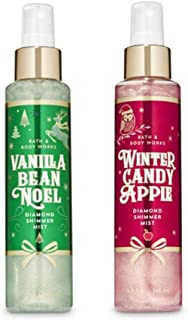 Bath and Body Works - Vanilla Bean Noel and Winter Candy Apple - Diamond Shimmer Mist - 2 pc Gift Set (Winter 2019)
