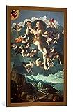 kunst für alle Quadro con Cornice: Marco d'Oggiono Die Himmelfahrt der HL Maria Magdalena - Stampa Artistica Decorativa, Cornice di Alta qualità, 60x85 cm, Rame Spazzolato