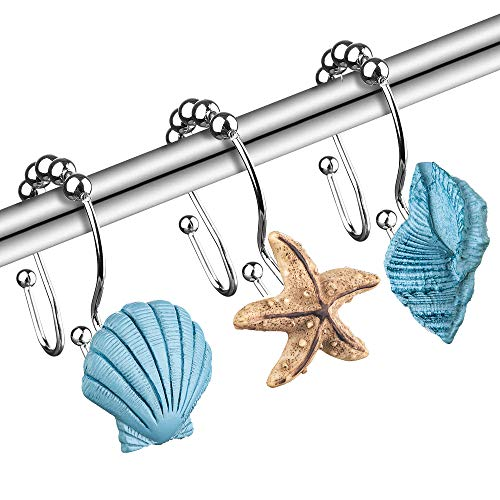 Seashell Decorative Shower Curtain Hooks - 12PCS Rust Proof Stainless Steel Beach Curtain Rings for Sea Nautical Themed Decor, Bathroom, Restroom, Bedroom, Gift for Thanksgiving, Mother's Day, Blue