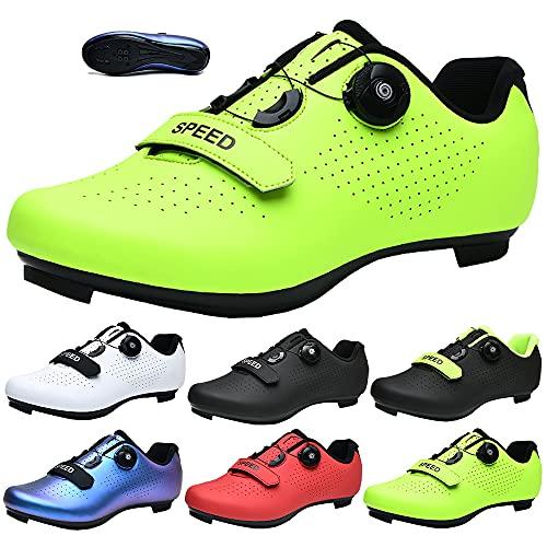 KUXUAN Zapatillas de Ciclismo para Hombre Mujer Spin Shoestring con Tacos Compatibles Peloton Shoe Lock Pedal Bike Shoes,Green-42EU