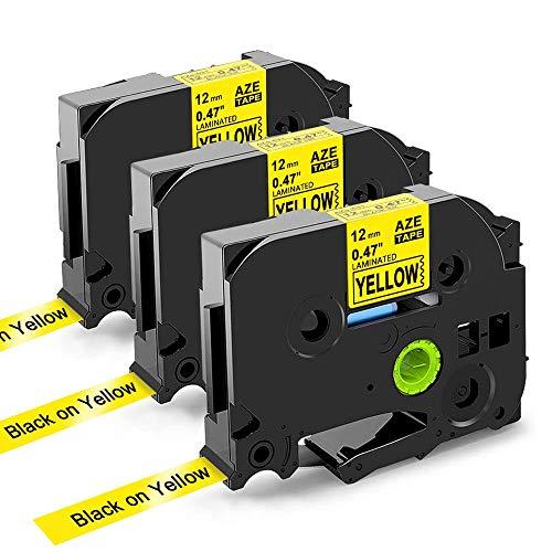 Nastri Cartuccia Compatibile In sostituzione di Brother TZe Tape 12mm 0.47 TZe-631, 12mm x 8m, Compatibile Brother P-touch PT-H100R PT-1005 PT-1010 PT-2030, (Nero su Giallo, confezione da 3)
